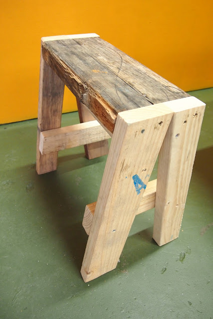 rustic industrial stool, off-cut, scrap wood, reclaimed wood, timber, light brown