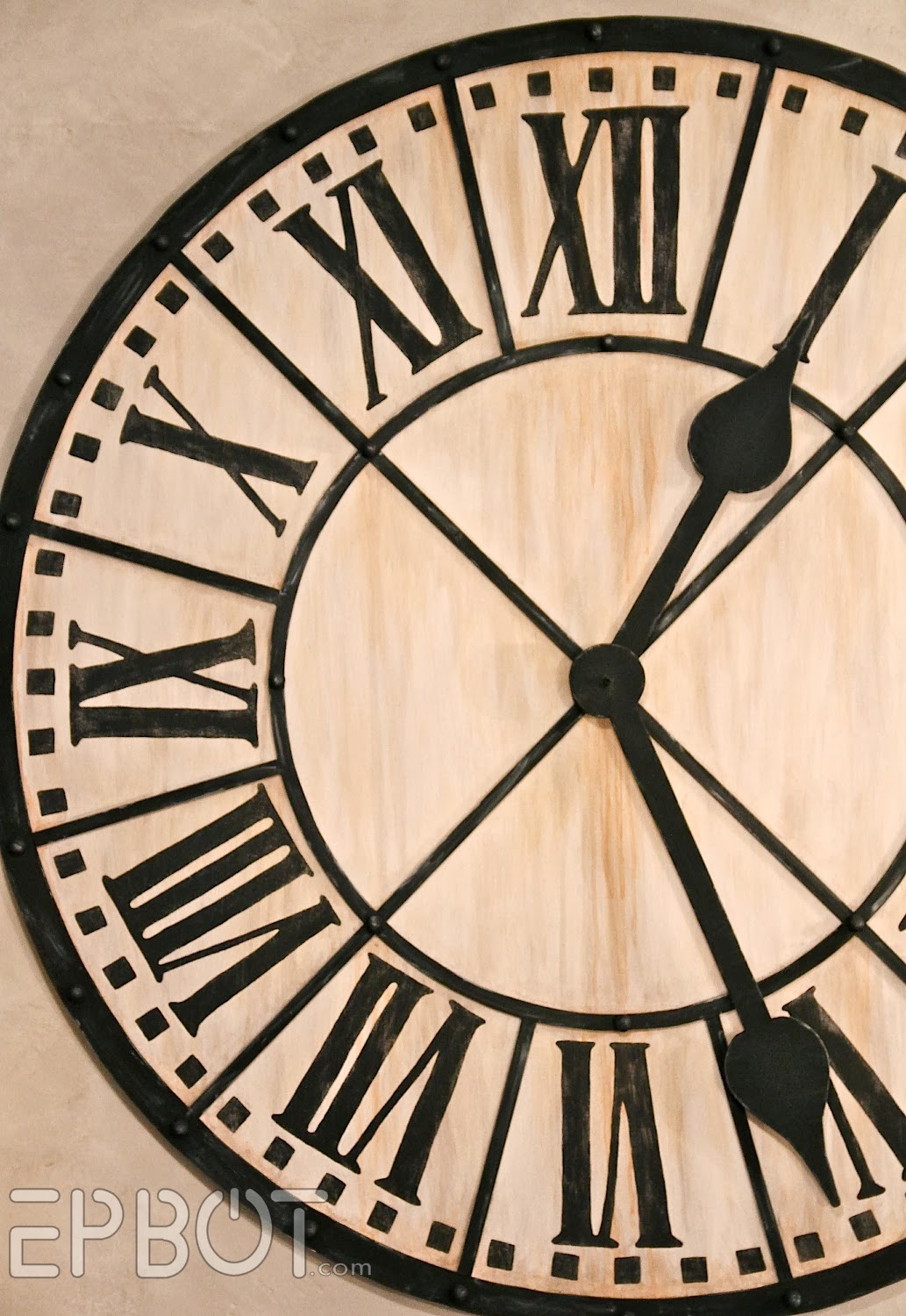 Epbot diy giant tower wall clock noise of a ticking clock in the bedroom instead we just screwed the hands in place with a spacer in between so theyd stand out a bit from the face amipublicfo Choice Image