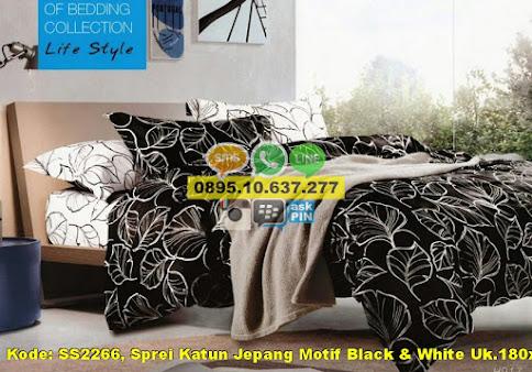 Sprei Katun Jepang Motif Black & White Uk.180x200x