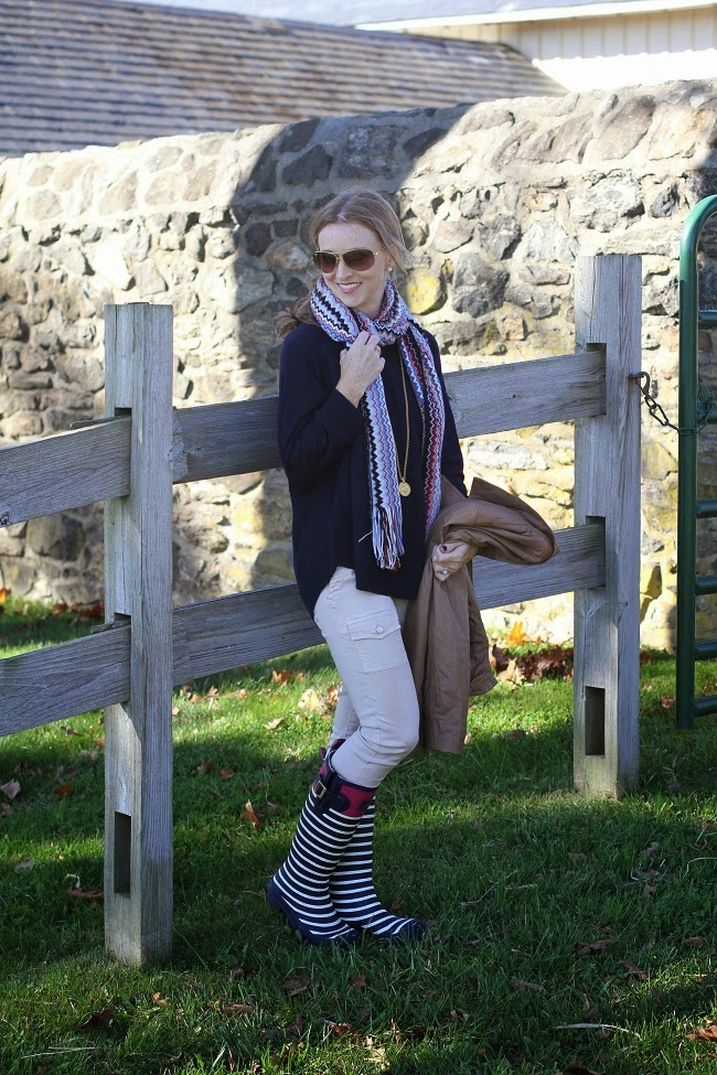 jcrew sweater, joie pants, missoni scarf, julie vos necklace, joules wellies