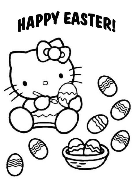 free coloring pages for easter. Hello Kitty - Easter Coloring