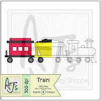 Toy Train Digital Stamp