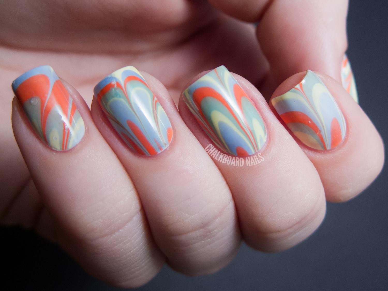 LCN Blossom Sorbet Water Marble | Chalkboard Nails | Nail Art Blog