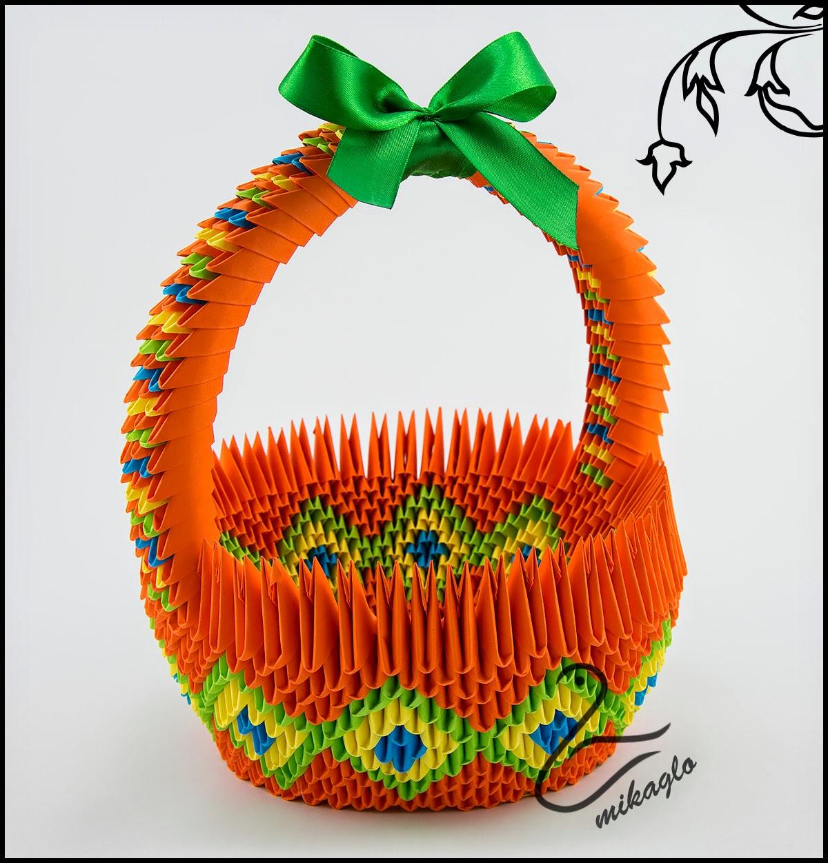 origami 3d mikaglo 52 koszyk w odcieniach pomara�czy