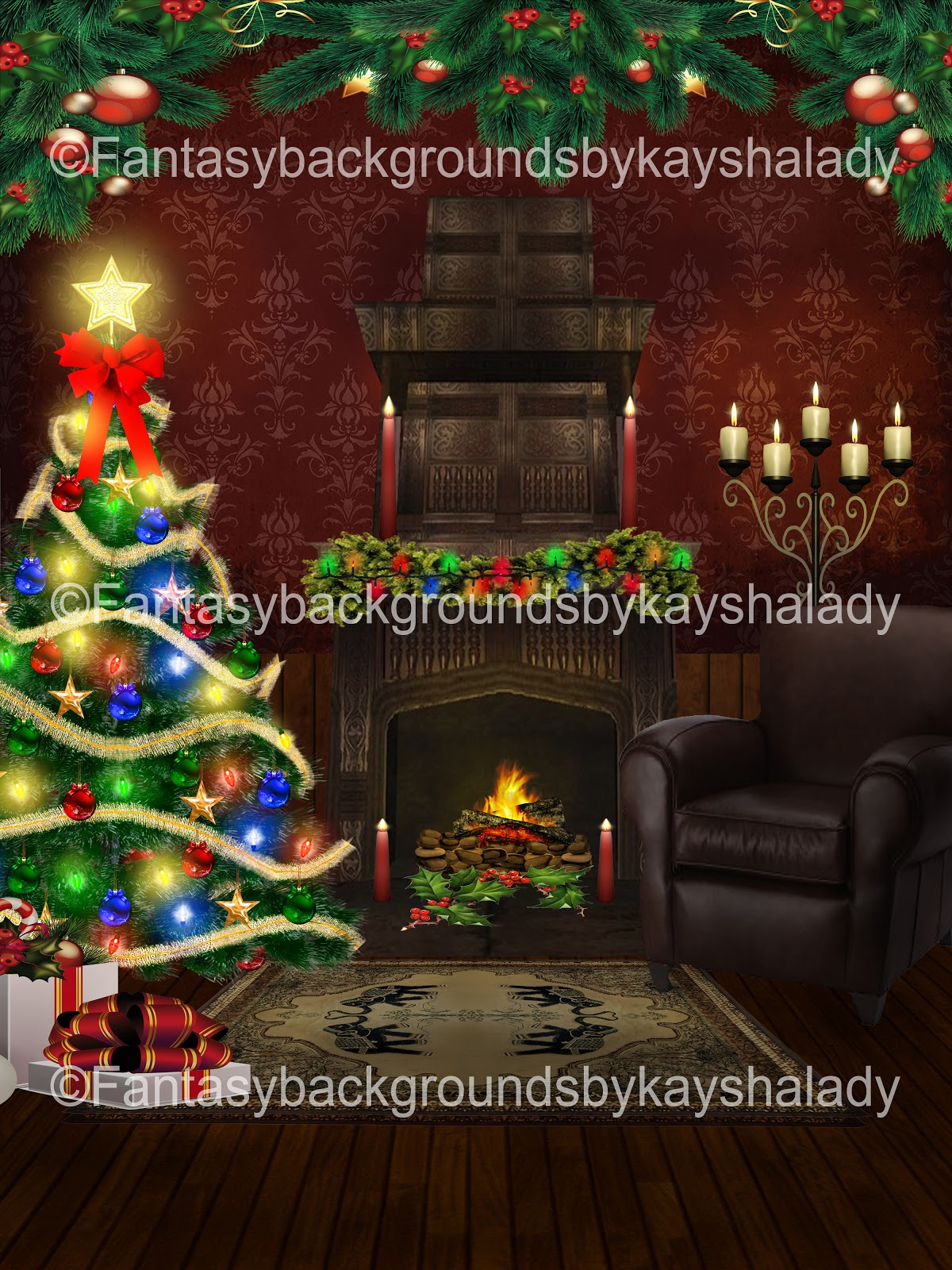 fantasybackgroundsbykayshalady: Christmas Fireplaces Fantasy ...
