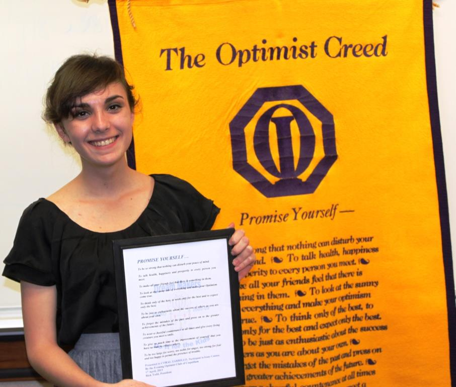optimist club essay the power of one The optimist club of greater vienna awarded $600 to three local high school vienna optimist club awards high school essay winners one day, haiti.