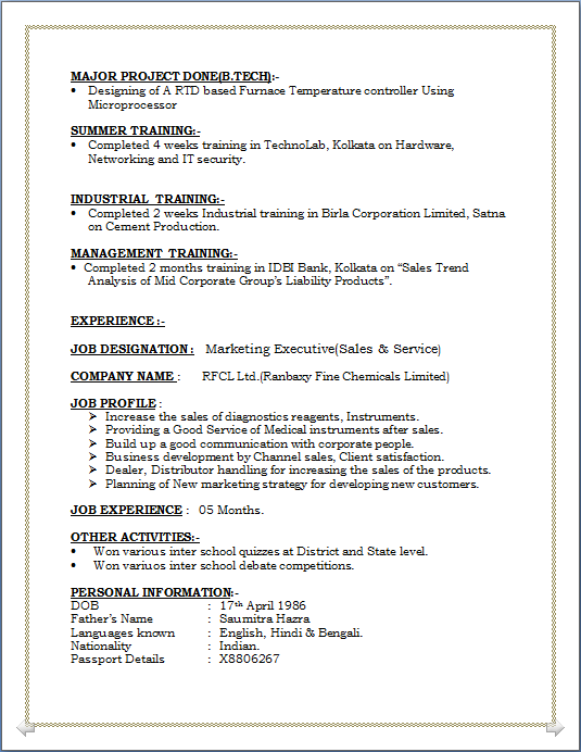 Resume with degree and minor