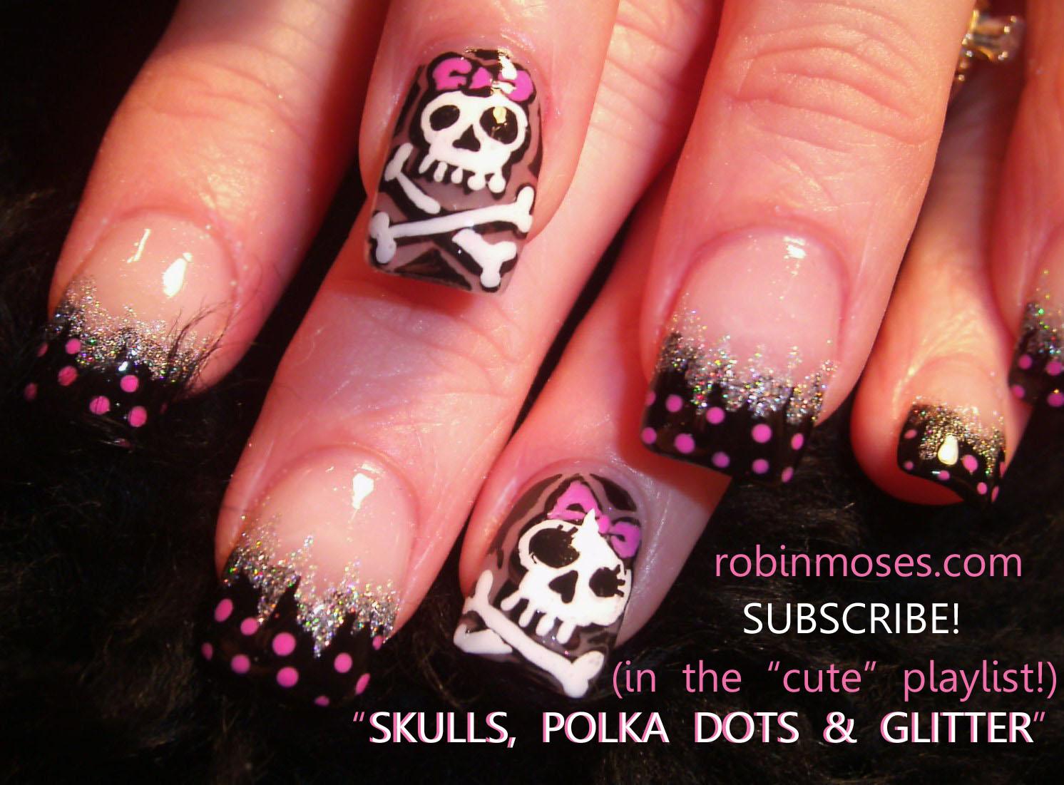 Nail Art Design Robin Moses Skulls Robin Moses Zebra Pink And