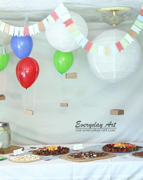 everyday art hot air balloon baby shower