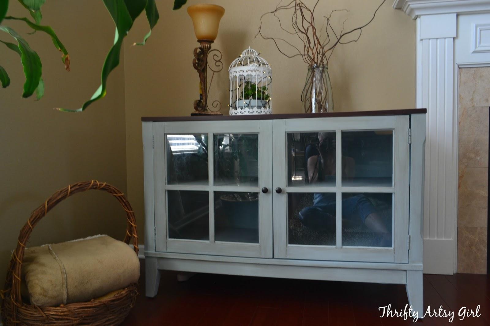 Thrifty Artsy Girl Blue Grey Chalk Painted Media Cabinet