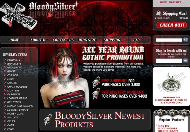 BloodySilver.Com - Gothic Jewelry Silver