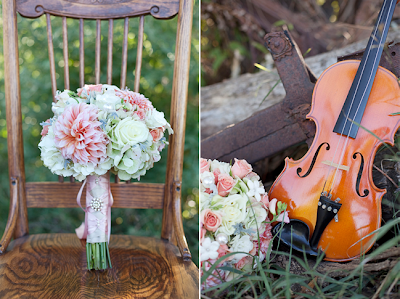 Guitar with wedding flowers