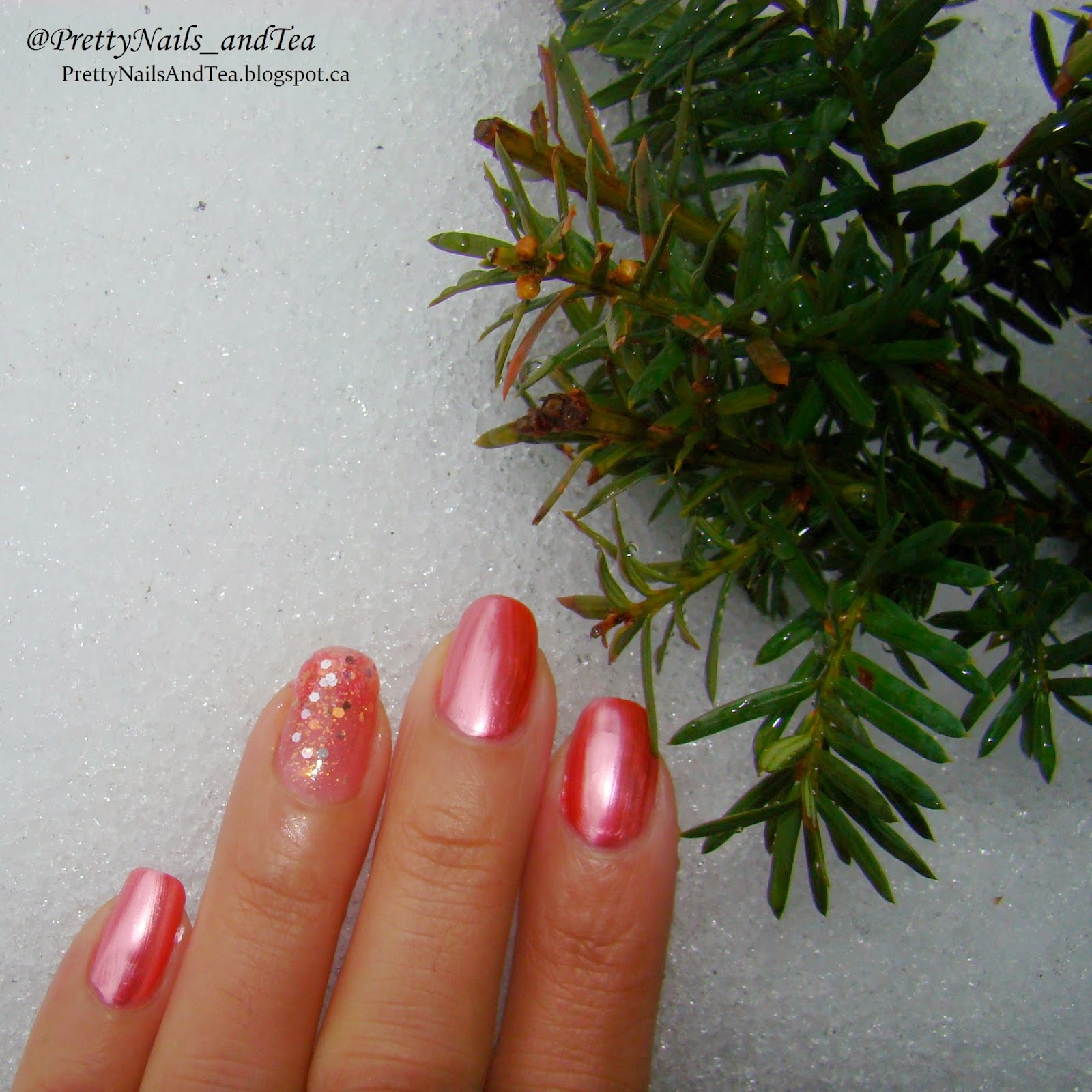 PINK Chrome pure ice polishes photo on ice