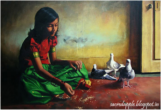 Small Tamil Girl with Pigeon