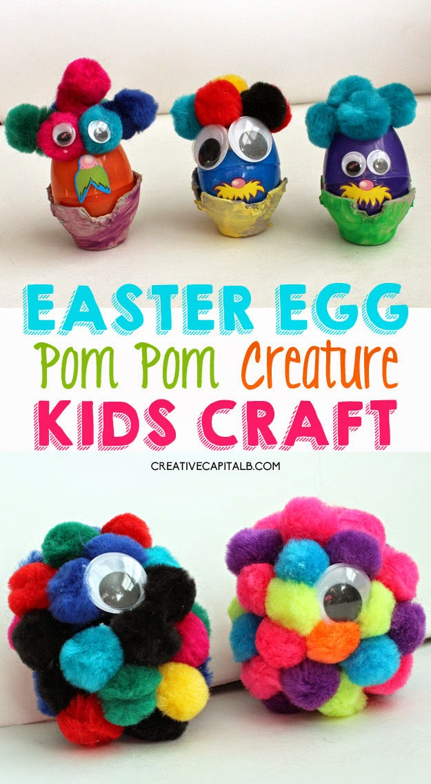 Simple Easter Egg Kid Craft: Pom Pom Creatures