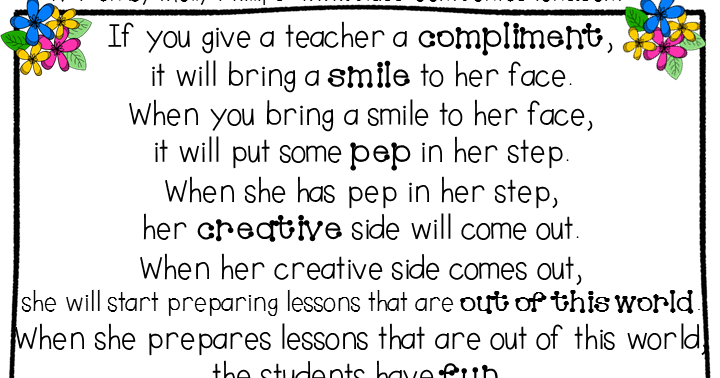 if you give a teacher a compliment
