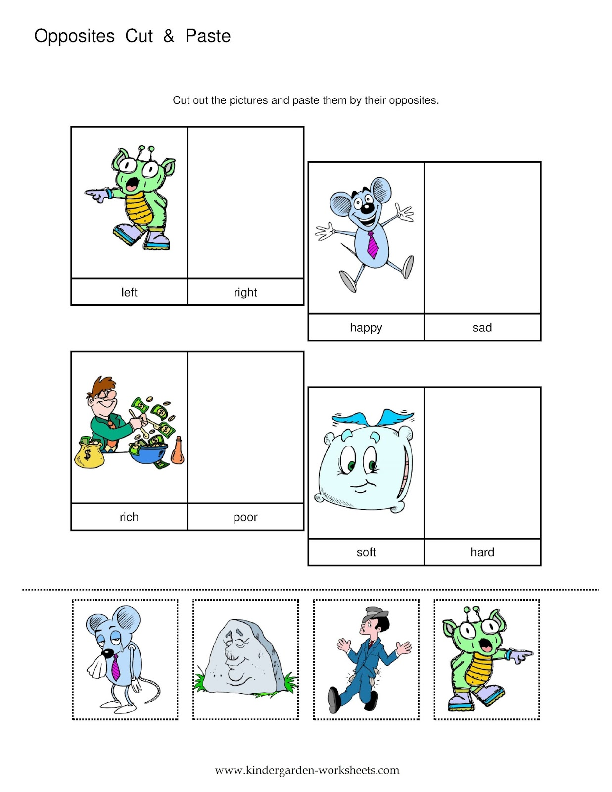Kindergarten Worksheets Kindergarten Worksheets Opposite Words – Cut and Paste Addition Worksheets