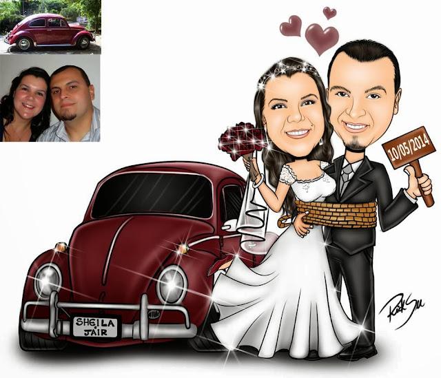 caricatura de noivos amarrados