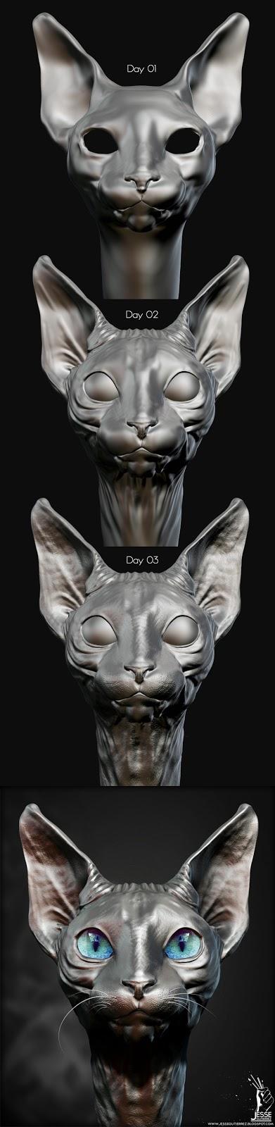 Jesse Gutierrez Art - Sphynx Cat, Zbrush, 3d, Peru,artista peruano 3d diseño 3d