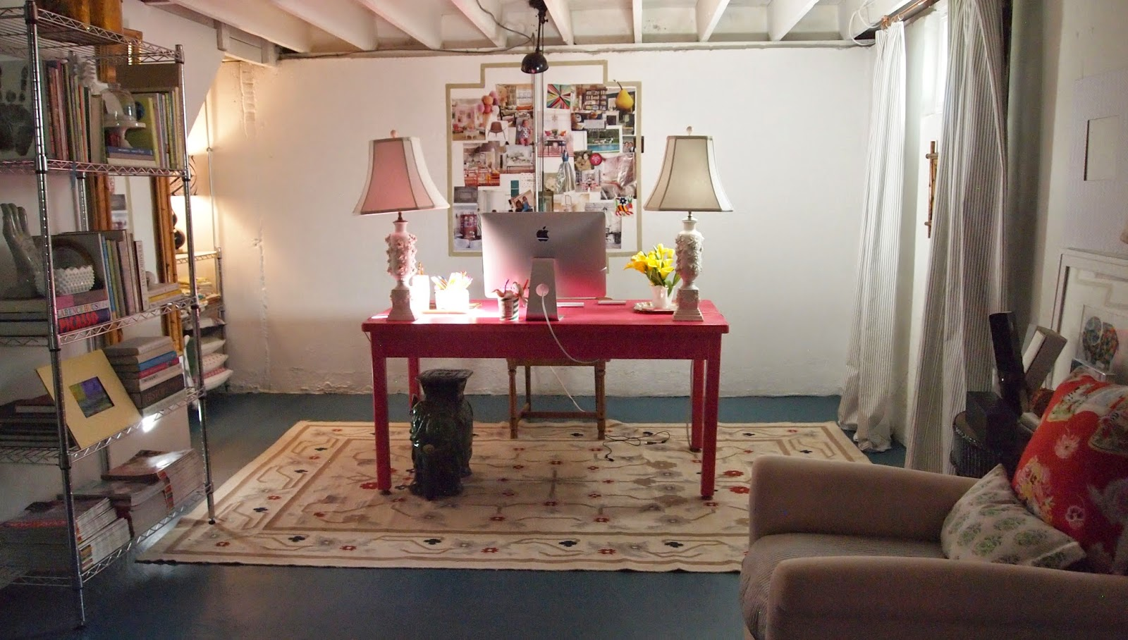 Pink Desk, Home Office, Basement Office