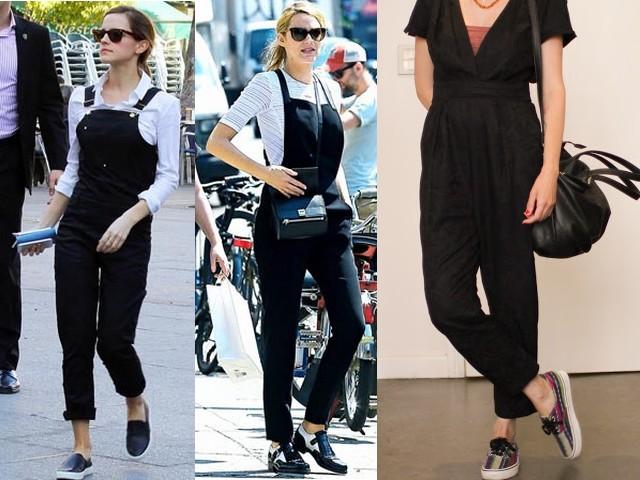 Diversos modelos e estilos de usar macacão preto longo.