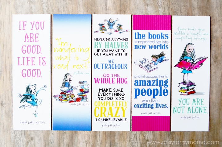 Free Printable Roald Dahl Bookmarks at artsyfartsymama.com