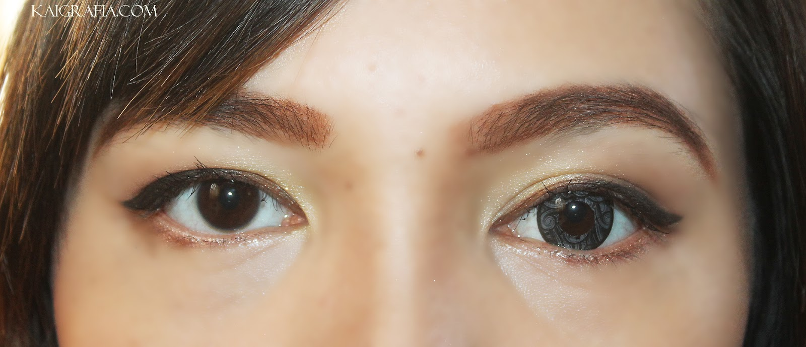 With and without circle lenses on eyes