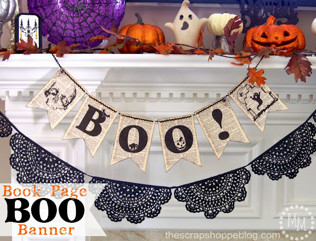 The Scrap Shoppe with a Book Page Boo Banner