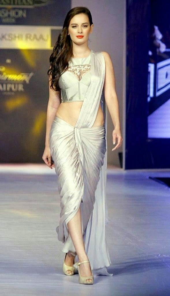 evelyn sharma hot ramp walk in saree pics