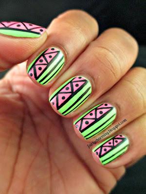 Nabi Pastel Green, Color Club Flamingo, green, neon gree, pink, neon pink, watermelon, tribal, nail poish, nails, nail art, nail design, mani