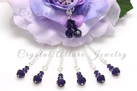 Amanda's Custom Purple Crystal Bridesmaid Jewelry Gift Sets