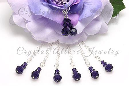 Amanda's Custom Purple Crystal Bridesmaid Jewelry Gift Sets