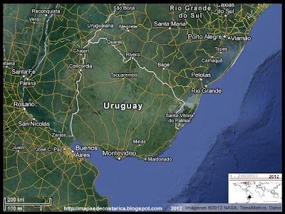 URUGUAY, Vista Satelital de Google Maps