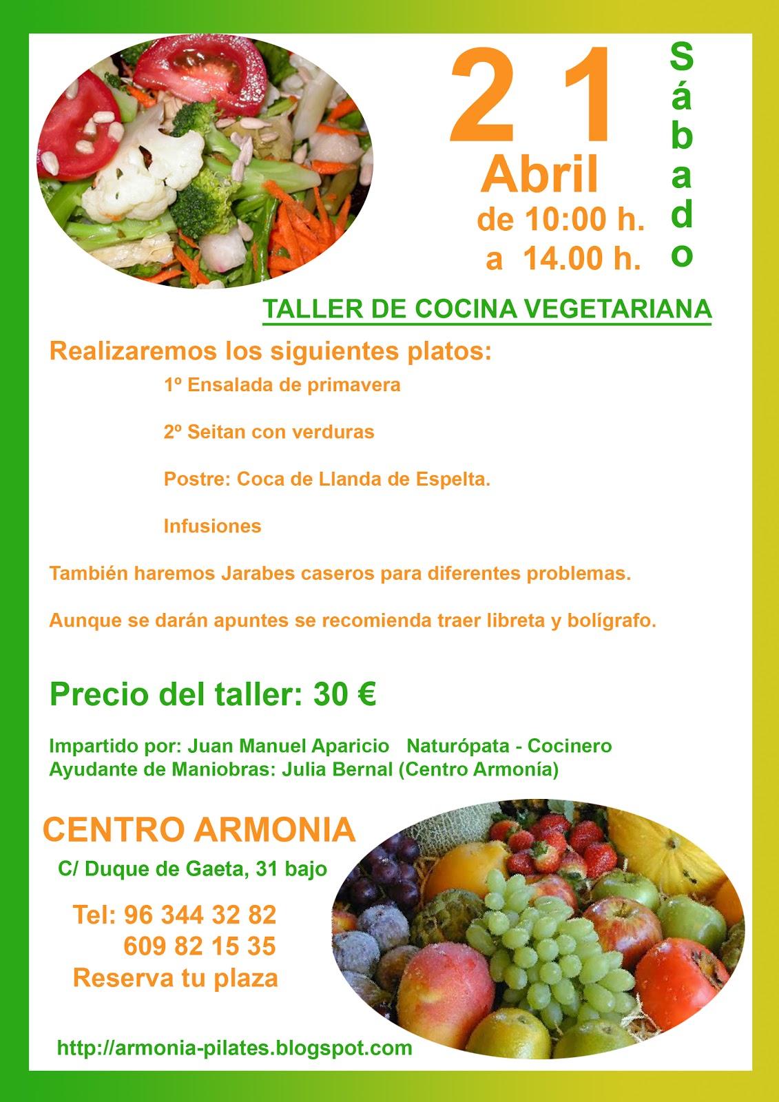 Centro armonia taller de cocina vegetariana for Cocina vegetariana