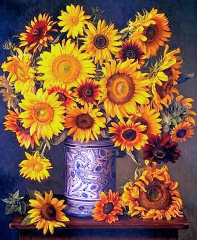 Cuadros modernos pinturas y dibujos girasoles pintados for Cuadros al oleo modernos