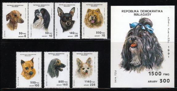 1991年マダガスカル共和国 グレーハウンド、 トイ・テリア、チャウ・チャウ、ミニチュア・ピンシャーなど8犬種の切手
