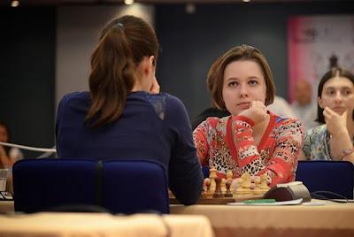 La joueuse d'échecs ukrainienne Mariya Muzychuk (2521) à Plovdiv - Photo © Boyan Botev