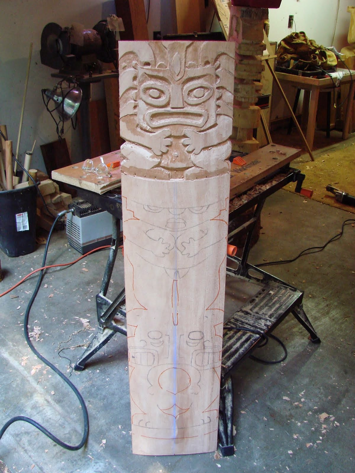 I started carving this 4 foot by 10 inch mahogany plank this weekend.