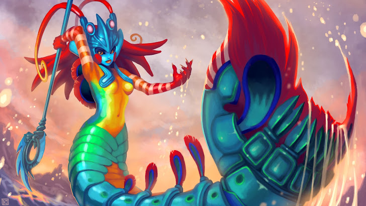 nami mantis shrimp skin art league of legends game lol girl