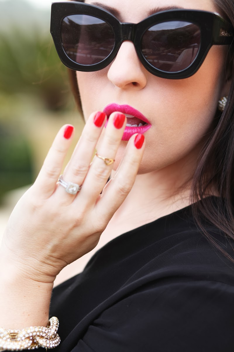heart-midi-ring-pave-link-bracelet-karen-walker-northern-lights-sunglasses-mac-girl-about-town-lipstick-essie-red-nail-polish-kng-and-kind-style-blogger-san-diego