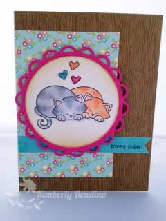 Kitty Love card by Kimberly Rendino using Newton's Antics Stamp set by Newton's Nook Designs
