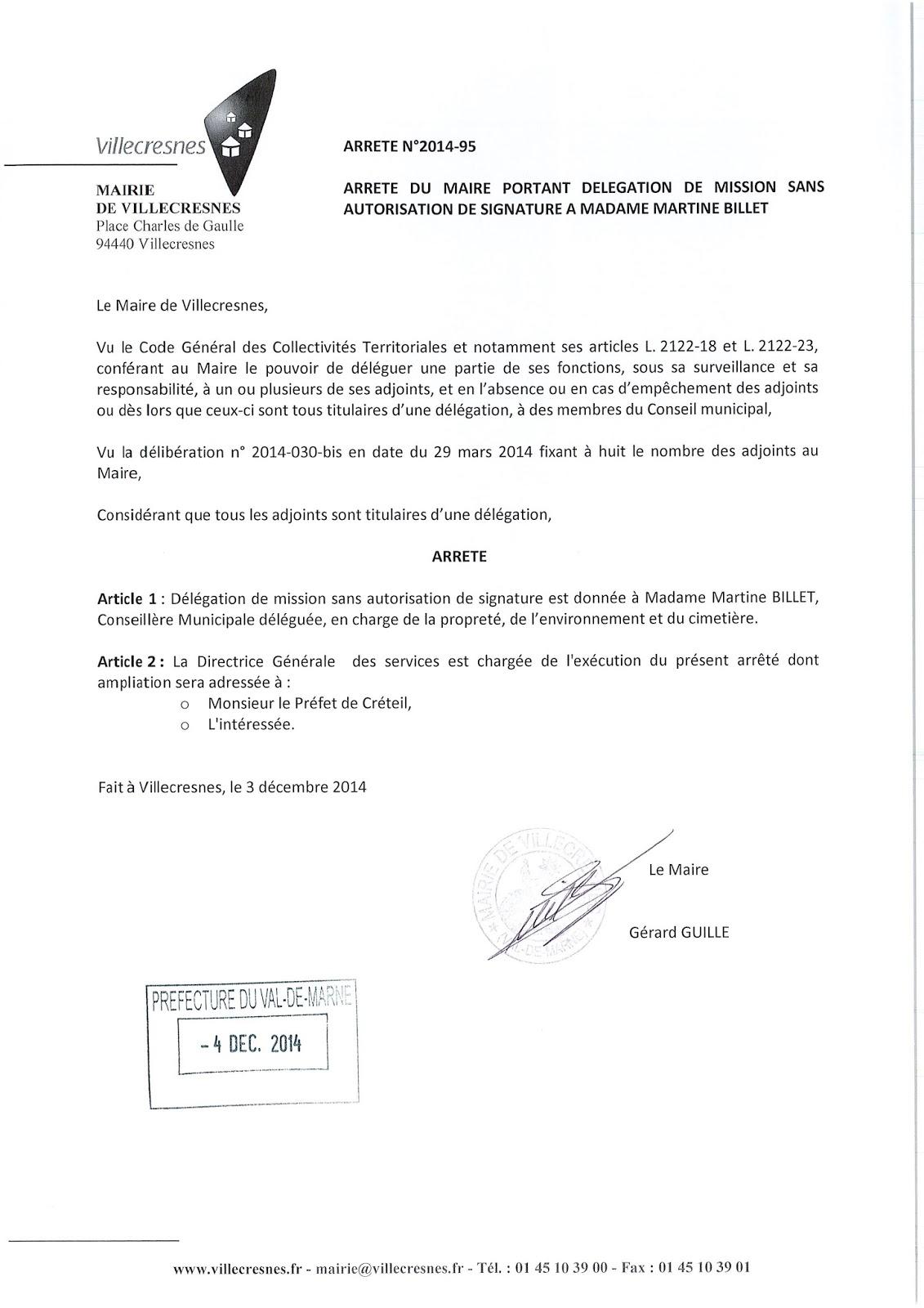 2014-095 Délégation de fonction mission sans autorisation de signature à Madame Martine Billet