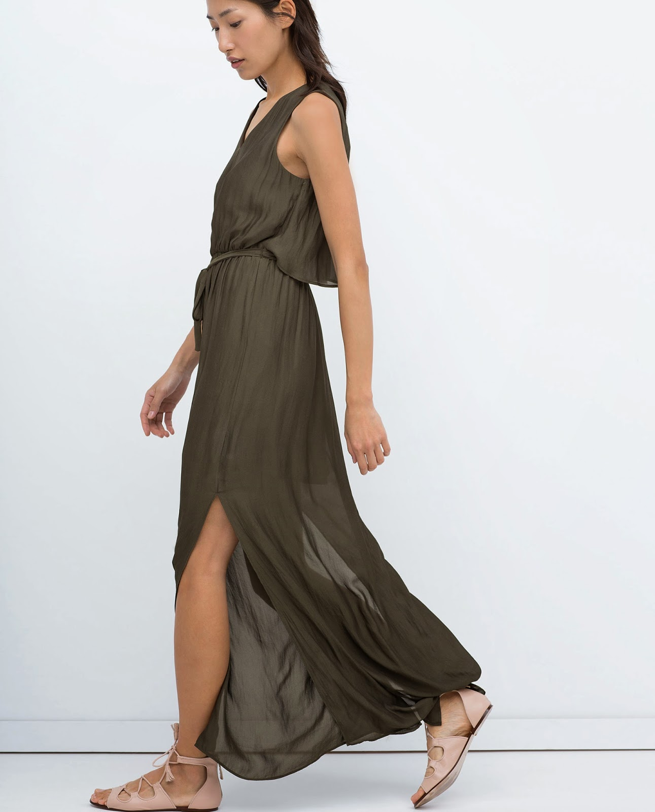 zara khaki maxi dress