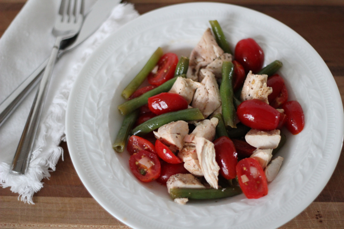 Tomato and green bean salad with shallot dressing