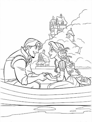 Eugene and Rapunzel from Disney animated movie Tangled coloring pages