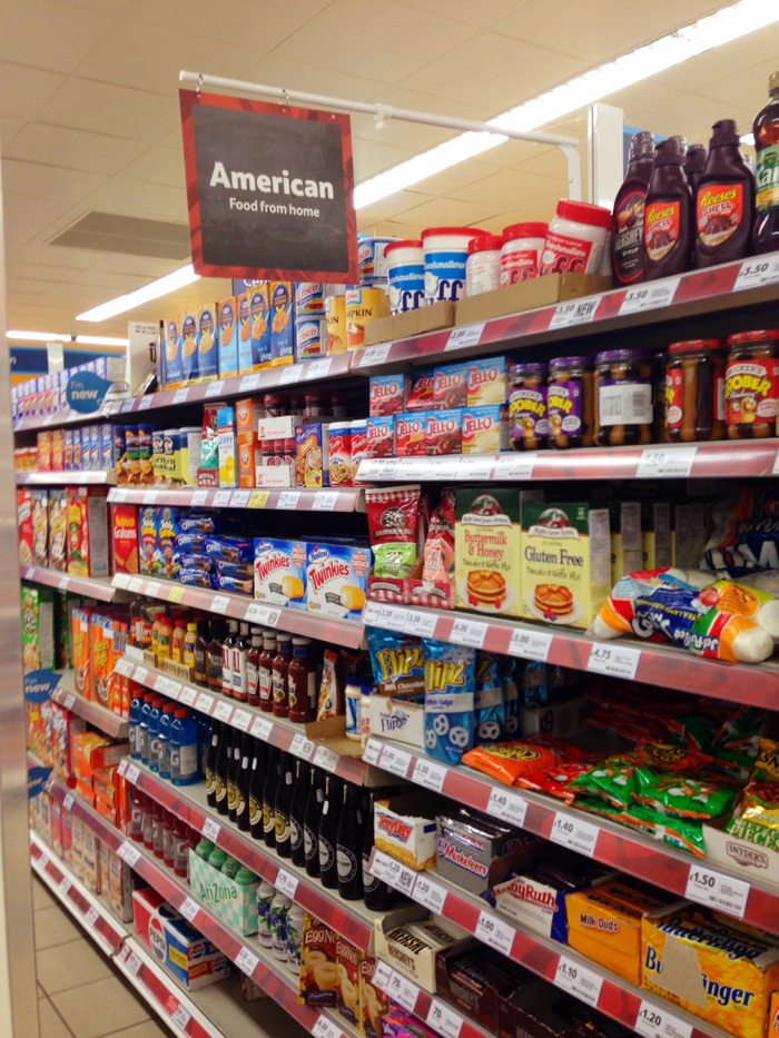 American food aisle in a British grocery store