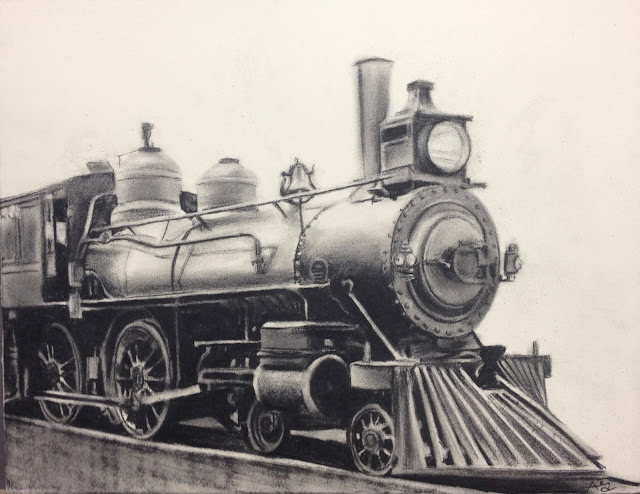 train, old, locomotive, engine, charcoal, black and white, art battle