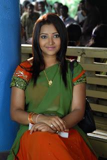 Swetha Basu Prasad in Half Green Saree Spicy Pics