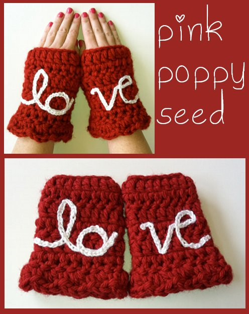 Love Crocheted Handmade Fingerless Gloves from Pinkpoppyseed