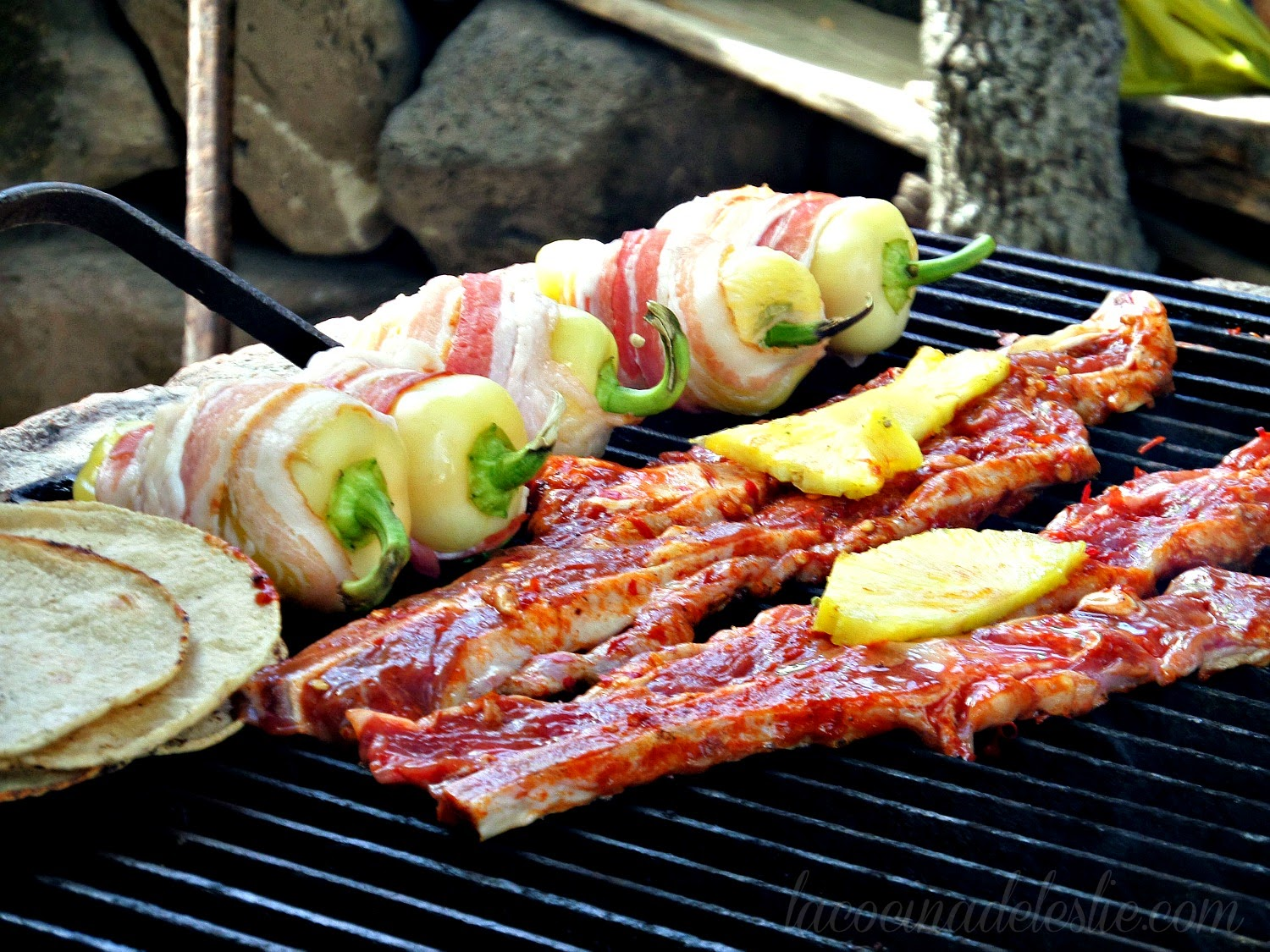 Grilled Pineapple Steaks w/ Adobo & Bacon Wrapped Peppers - lacocinadeleslie.com